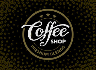Coffee shop. Lettering isolated on black background