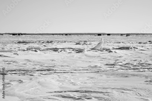 Black and white frozed Lake of the Woods, Minnesota with ice