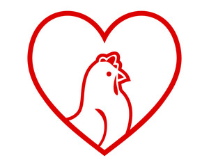 chicken heart hen poultry livestock animal image vector