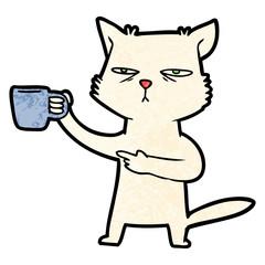 cartoon cat needing a refill of coffee