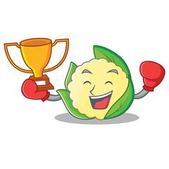 Boxing winner cauliflower character cartoon style