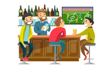 Young cheerful caucasian white people drinking beer and watching football match in bar. Happy friends with beer in sport bar. Vector cartoon illustration isolated on white background. Square layout.