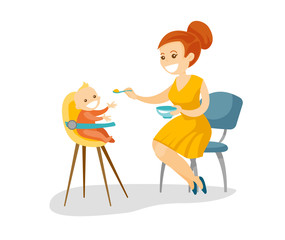 Young caucasian white mother feeding with a porridge her little baby sitting on kids chair. Mother feeding baby with a spoon. Vector cartoon illustration isolated on white background. Square layout.