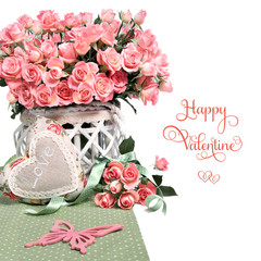 Border image with many pink roses and stuffed heart on white background
