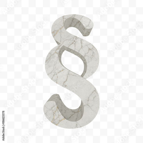 Marble Paragraph Symbol White Rock Textured Section Sign Isolated