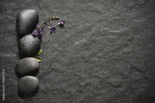 black stone with green leaf and smallthe cute purple flower
