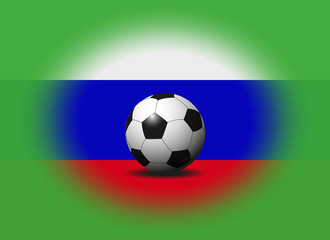soccer ball on russian flag