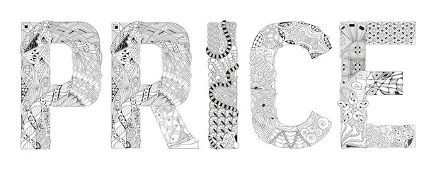 Word PRICE for coloring. Vector decorative zentangle object