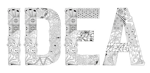 Word IDEA for coloring. Vector decorative zentangle object