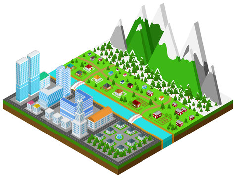 Graphic building real estate house and cityscape architecture in urban separate from countryside town with winter forest and mountains nature environment in 3D isometric design in isolated