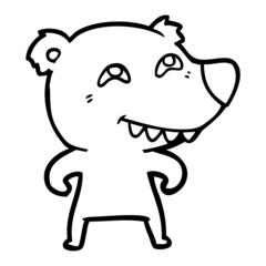 cartoon bear showing teeth