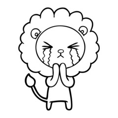 cartoon crying lion praying