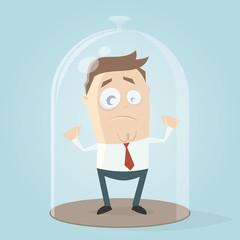 businessman under a bell jar