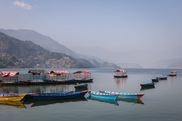 rowbaots in Phewa lake in Pokhara in Nepal
