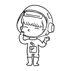 cartoon curious astronaut wondering