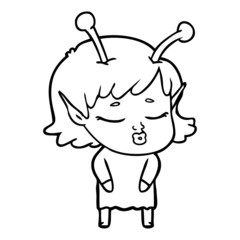 cute alien girl cartoon