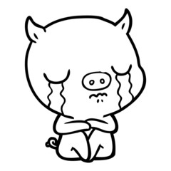 cartoon sitting pig crying