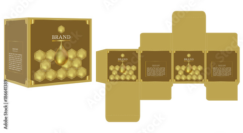 packaging design golden honey cosmetic box design template and
