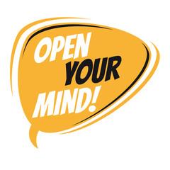 open your mind retro speech bubble