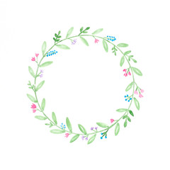 Watercolor illustrations, Flowers wreath, Hand drawing flowers in watercolor style on white paper background, art design concept