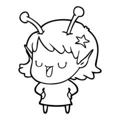 happy alien girl cartoon