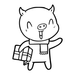 happy cartoon pig with xmas present