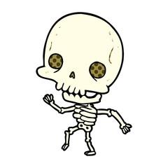 cute cartoon dancing skeleton