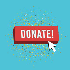 Donate button with cursor in flat design