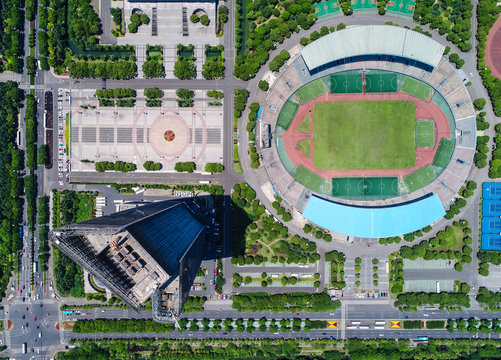 An aerial view of a museum and football stadium