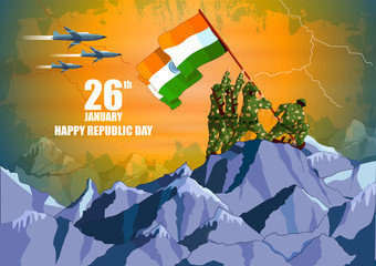 Indian army with flag for Happy Republic Day of India