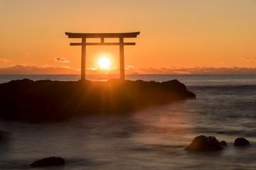 Fotomurales - 大洗海岸の神磯鳥居に上る朝日