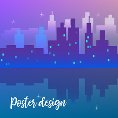 Poster design template with night cityscape. Vector design template.
