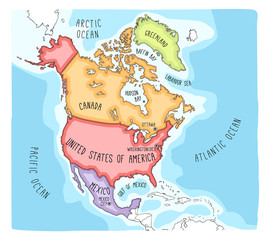 Hand drawn vector map of North America. Blueprint style cartography of North America including Mexico, United States and Canada
