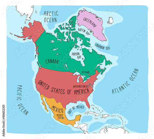 Hand drawn vector map of North America. Blueprint style cartography ...