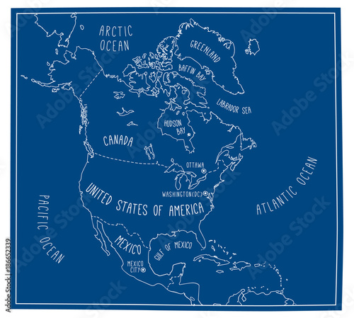 Hand drawn vector map of north america blueprint style cartography hand drawn vector map of north america blueprint style cartography of north america including mexico malvernweather Gallery