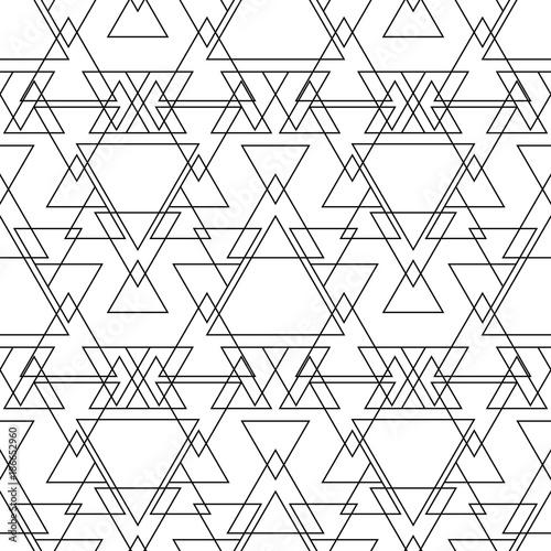 Seamless Black And White Minimal Geometric Pattern Vector Background