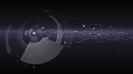 Abstract tech design background. Engineering technology wallpaper made with lines, dots, circles. Futuristic technology interface on dark background. Digital technology concept, vector illustration.