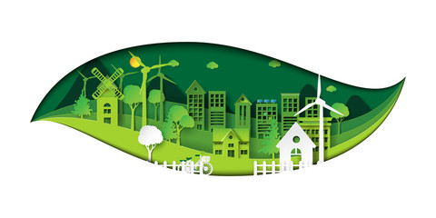 Green eco city and environment conservation concept design with leaf shape of paper art style.Vector illustration.