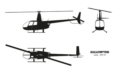 Black silhouette of helicopter on white background. Top, front and side view. Detailed image of business vehicle.  Industrial isolated drawing
