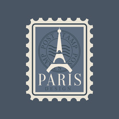 Eiffel Tower silhouette on postage stamp of France. Symbol of Paris city. Original design with famous landmark of Europe. Flat vector illustration