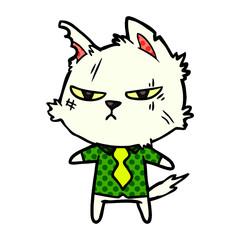 tough cartoon cat in shirt and tie