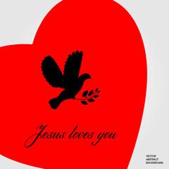 Jesus love you. Dove of peace. Religion logo