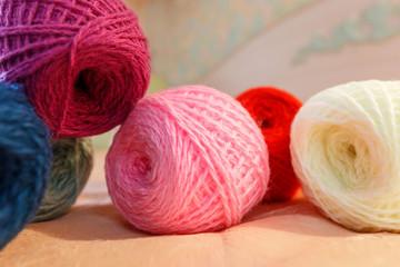 knitting wool and wool ball