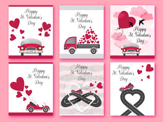 Happy Valentines day. Set of Valentines romantic greeting card, invitation, poster design templates. Love. Urban asphalt road heart with cabriolet car. City road map. Romantic background with concept