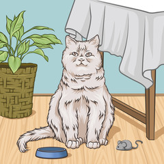 White cat sitting next to a table, room interior vintage style home vector Illustration