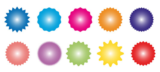 Set of icons badges starburst, sunburst, label, sticker.