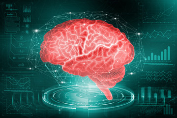 The human brain. The study of the possibilities of the brain in the development of artificial intelligence. Analysis and reconstruction of neural networks. 3D illustration on medical research