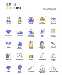 Flat line multicolor icons design-Healthcare and Medicine