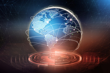 Global data exchange. Formation of a planetary communication network. Business in the field of digital technologies. 3D illustration