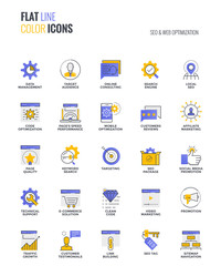 Flat line multicolor icons design-SEO and Web optimization